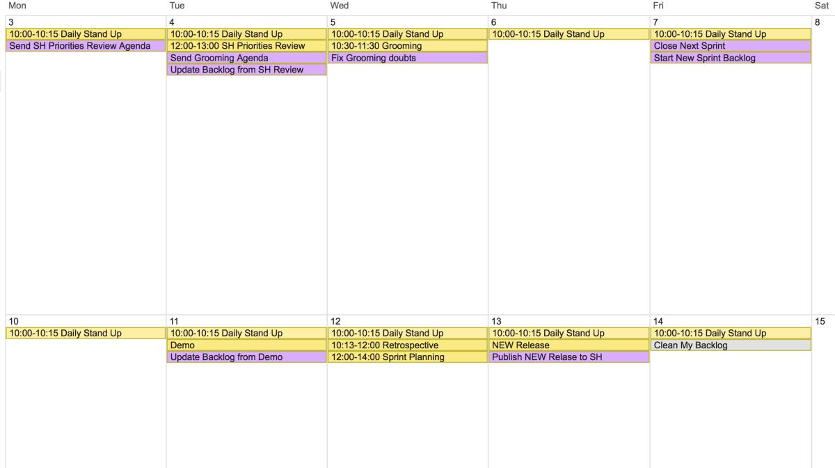 Cómo organizar tu agenda cuando eres un Product Owner