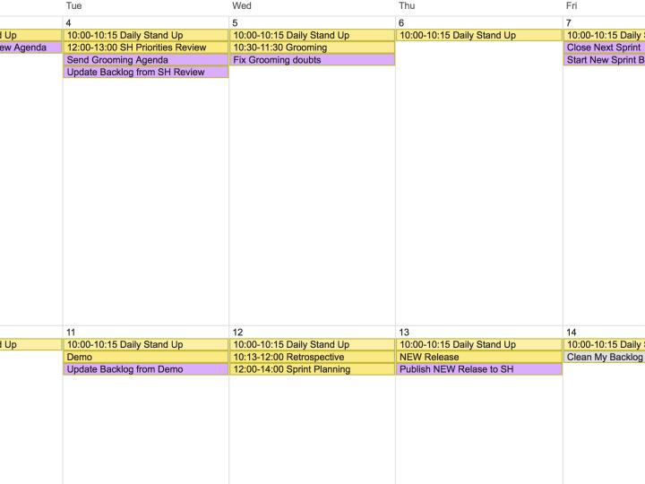 ProductOwner Personal Calendar